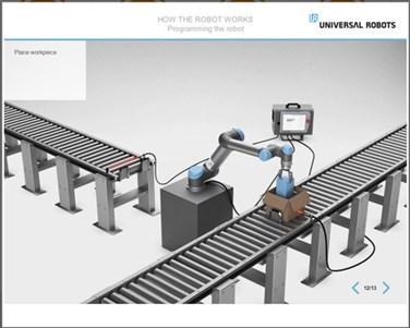 Universal robots training module with robot and conveyor.