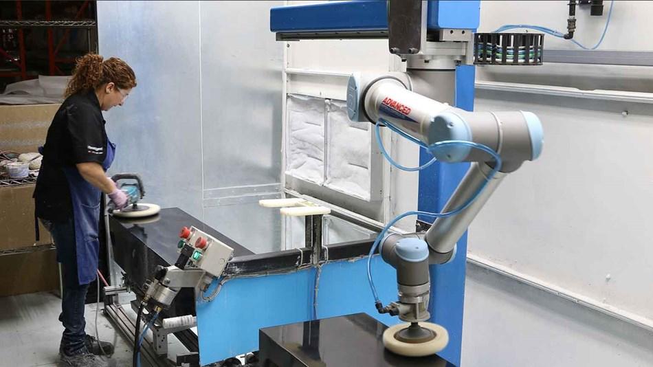 Collaborative robots in polishing application at Paradigm