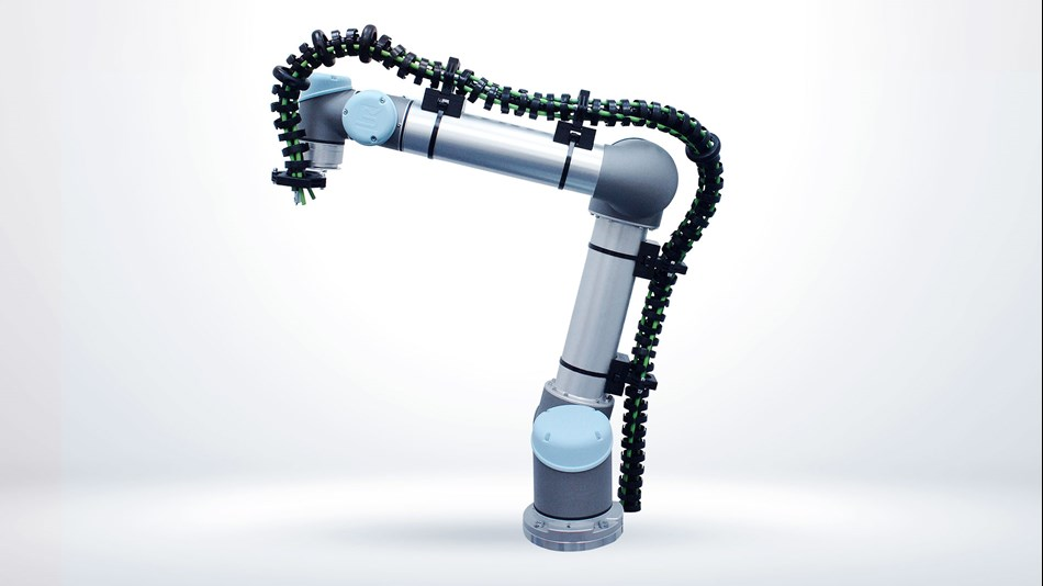 Collaborative robotic arm from Universal Robots with cable management system Bagger-Nielsen.