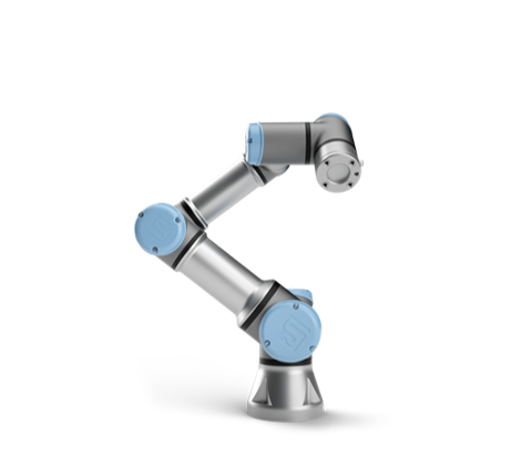 The UR3e - collaborative robotic arm with a payload of 3kgs and a reach radius of 500 mm.