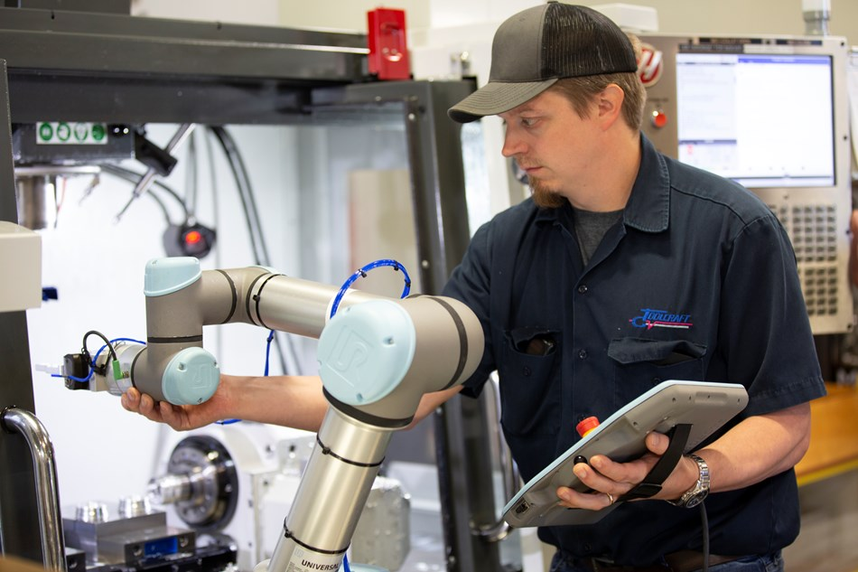 """The UR's free-drive function greatly reduces the time to teach robot points,"" says Brian Laulainen, automation engineer at Toolcraft."