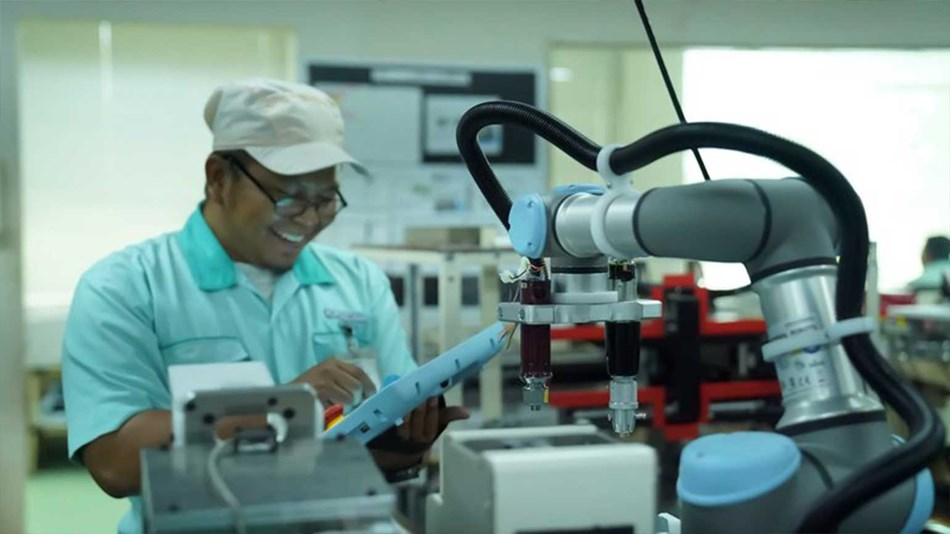 At PT JVC Electronics Indonesia the adoption of UR3 cobots has lessened the burden on workers to perform menial and repetitive tasks