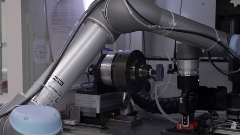 The UR5 at FUTEK is integrated with a Robotiq gripper