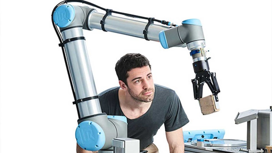 Palletizing collaborative robot from Universal Robots.