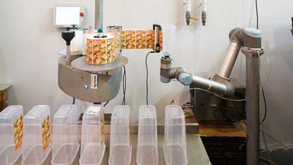 The robotic arm in labelling application
